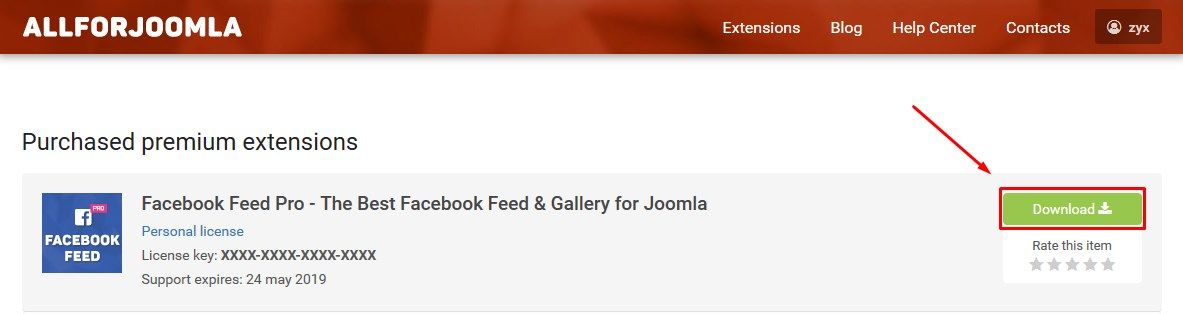 Download Facebook Feed Pro package for Joomla