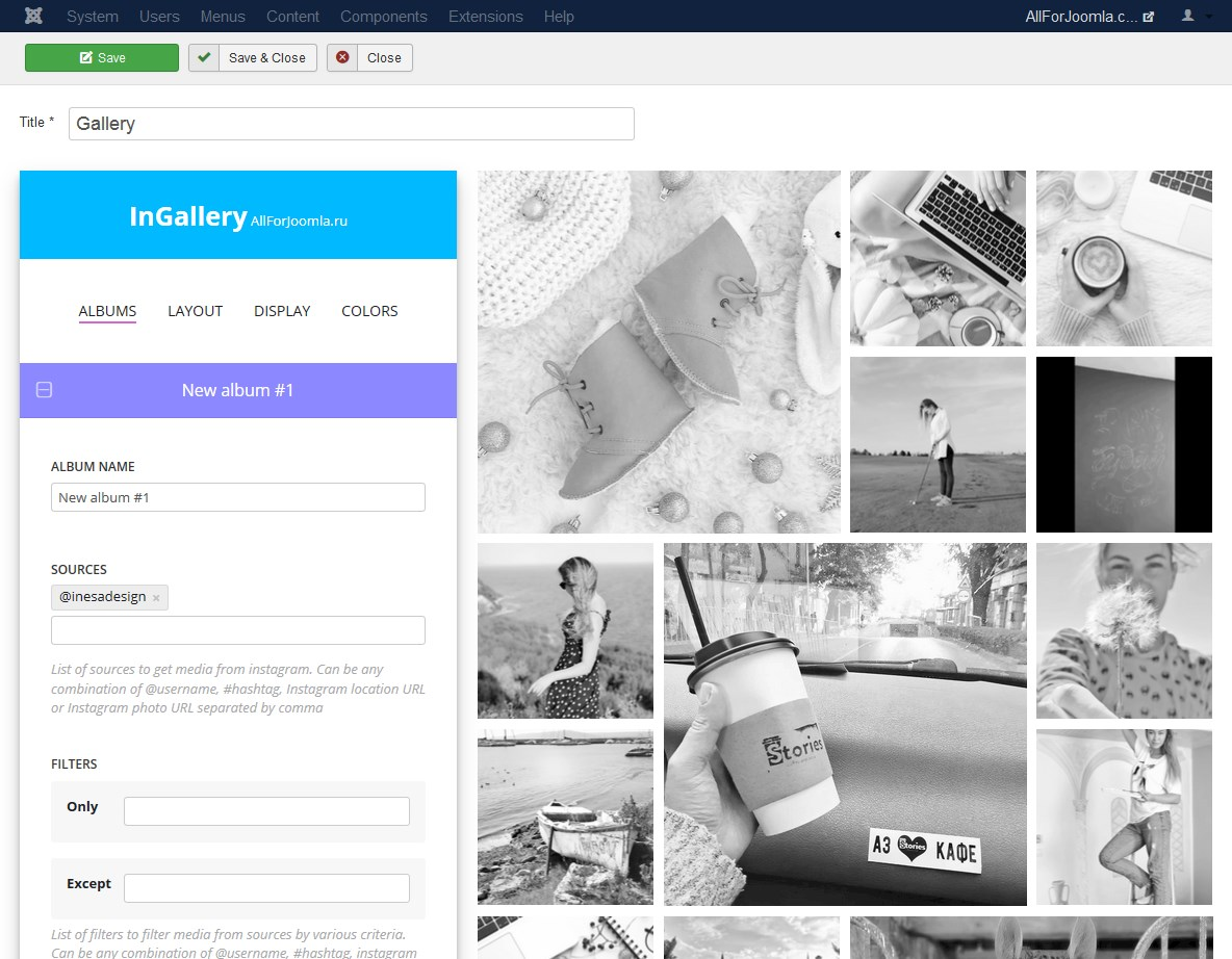 create Instagram feed/gallery on Joomla website