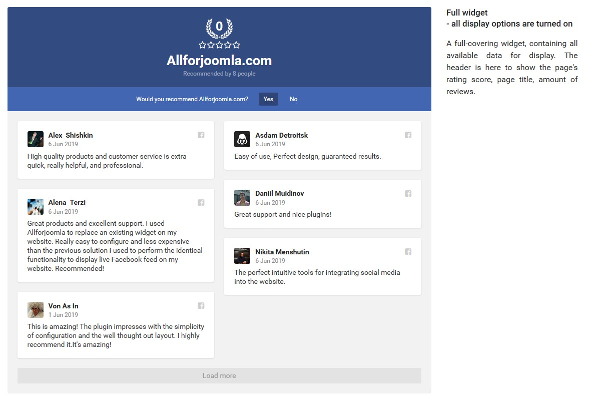 Facebook Page Reviews - The Best Facebook Recommendations plugin for Joomla